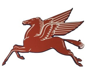Mobile Pegasus Metal Sign