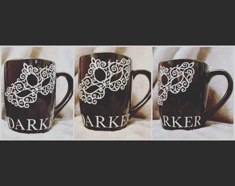 50 Shades Darker theme inspired with glitter coffee mug Birthday // Bridal shower // Christmas // Any Occasion Gift
