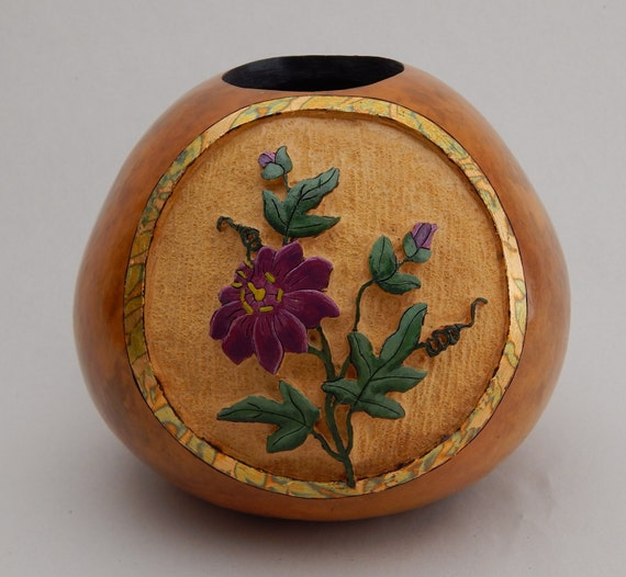 Carved gourds gourd art passionflower purple flower