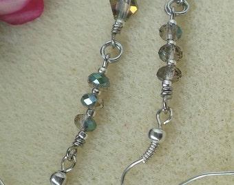 Crystal earring/beaded earring/ststment earrings/ silver earrings