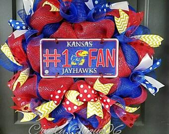 Jayhawks Wreath; University of Kansas Wreath; Collegiate