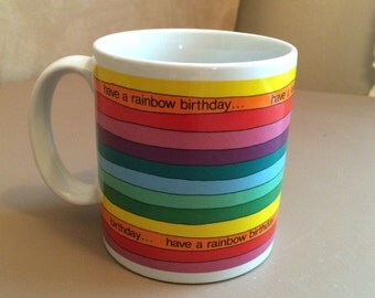 "Vintage Russ ""Have a Rainbow Birthday"" Mug"