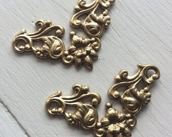 Raw  brass 36mm ornate connectors 6 pc