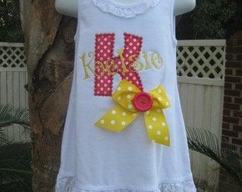 Personalize Lace Trim  Tank Dress, Lace Trim Dress, Personalized Tank Dress