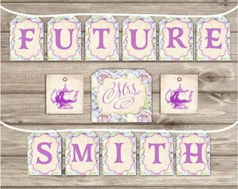 printed bridal tea party bridal shower banner future mrs theme party download purple lilac tea vintage