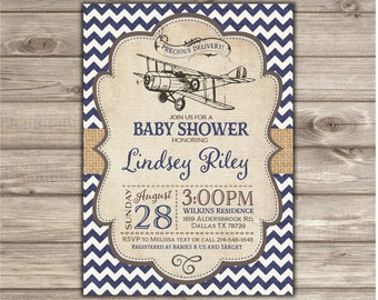 Airplane Baby Shower Invitations Boy Shower Invites NV2127