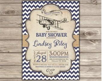 Airplane Baby Shower Invitations Boy Shower Invites NV2127