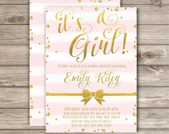 It's a Girl Baby Shower Invitations Pink and Gold Printable Invitations Pink stripes Glitter Bow theme Baby girl its a girl NV6052