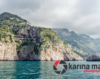 Beautiful Amalfi Coast, Italy Photo, Italian Landscape, Scenery, mountains, ocean, Travel Photography, print, wall art