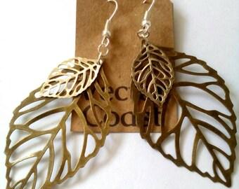 Silver Leaf Earrings, Large Leaf Earrings, Statement Earrings, Nature Jewelry, Dangle Earrings, Gift For Her, Leaf Jewelry