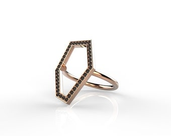 14K  Rose Gold Ring , Gold Ring , Asymmetry- Black Diamond Ring ,  Geometric Ring , Geometric Gold  Diamond Ring , Handmade Gold Ring
