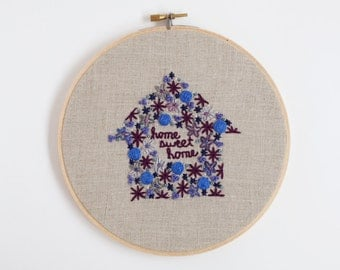 Home Sweet Home Embroidery. Housewarming Gift. Hostess Embroidery Hoop Art. New Home Gift. Hand Embroidered Home // FREE US SHIPPING 7""