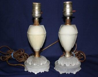 Art Deco Satin Glass Table Dresser Lamps Vintage 1920's Lamps