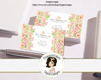 Business Cards, Premade Business Card, Printable Business Card, Digital Business Card Template - Floral, Flowers