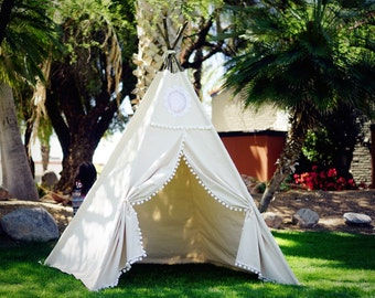 XL Vintage teepee, beach teepee, 8ft kids Teepee, large tipi, Play tent, wigwam or playhouse with canvas and Overlapping front doors
