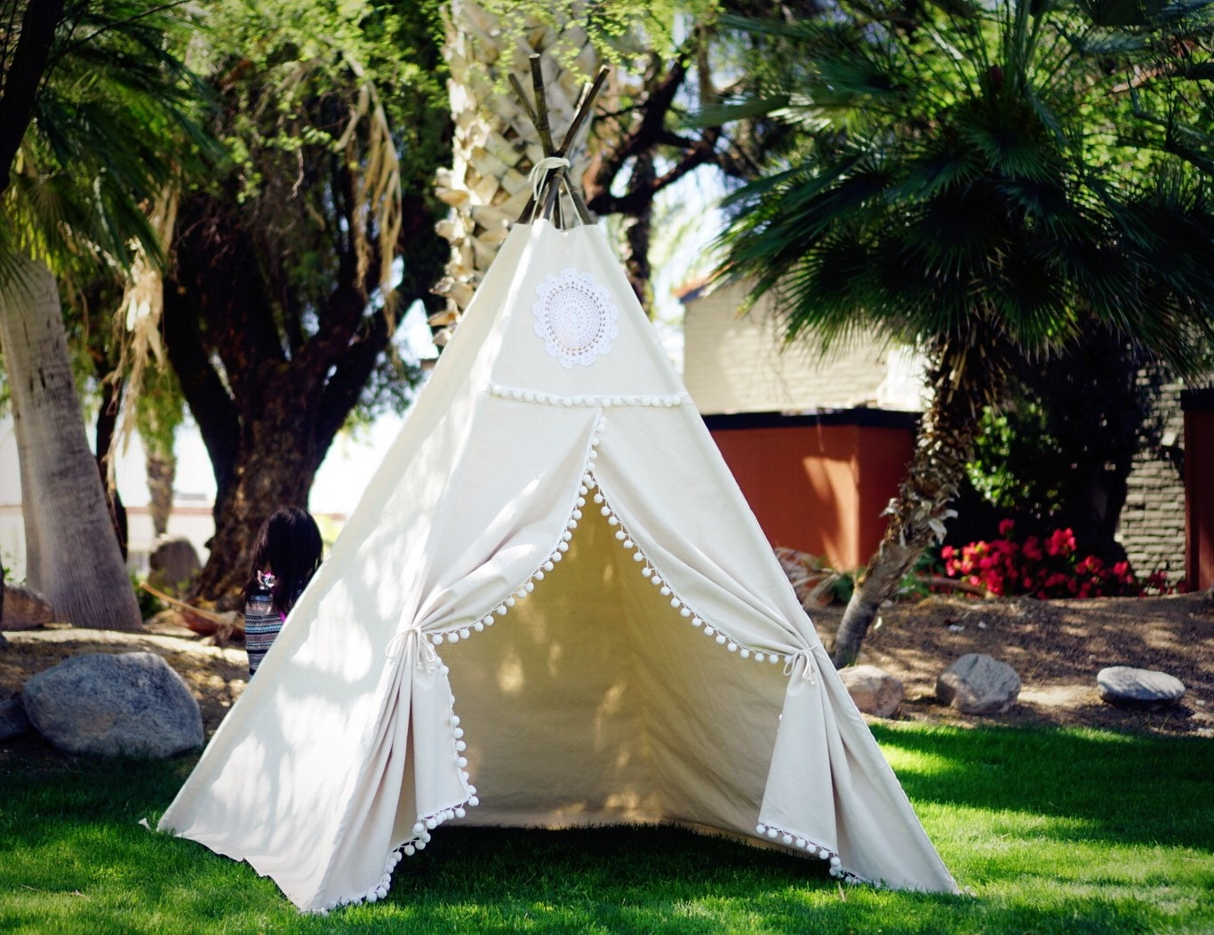 XL Vintage teepee beach teepee 8ft kids Teepee large tipi Play tent wigwam or playhouse with canvas and Overlapping front doors & XL Vintage teepee beach teepee 8ft kids Teepee large tipi Play ...