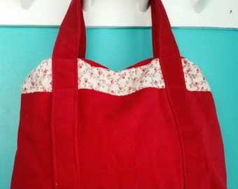 Red flowered corduroy Purse