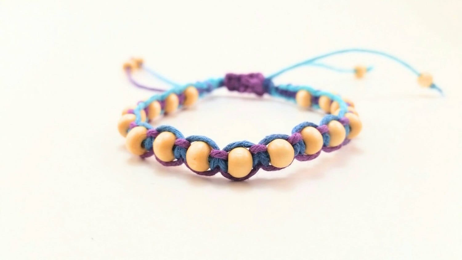 purple and blue beaded hemp bracelet macrame by wartickravels