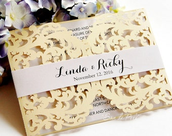 Wedding Card Template swirl cutting file K104 (svg, dxf, ai, eps, png, pdf) laser cut pattern Instant Download