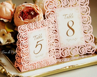 Roses Lace Wedding Table Number Floral Cards template (svg, dxf, ai, eps, png, pdf) paper die cut, laser cut file pattern Instant Download
