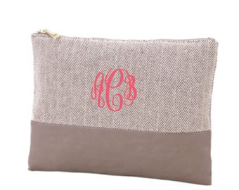 Herringbone Zip Pouch- Cosmetic Bag