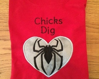 Spiderman Valentine Shirt. Chicks Dig Superheroes