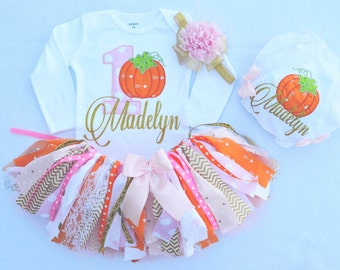 first birthday outfit girl,fall first birthday,pumpkin birthday outfit,pink gold orange fabric tutu,1st birthday tutu,cake smash outfit girl