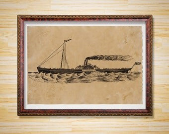Nautical art poster Ship print Sea illustration