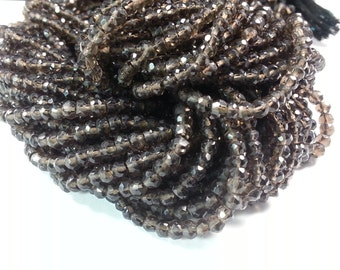 4 mm , Smoky Quartz Faceted , 13.5 inches