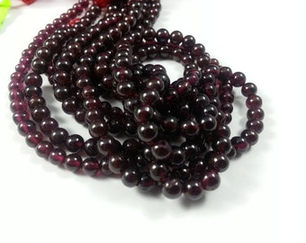 5 mm , Garnet Smooth , 13 inches