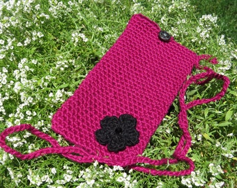 Magenta Cell phone cross body bag