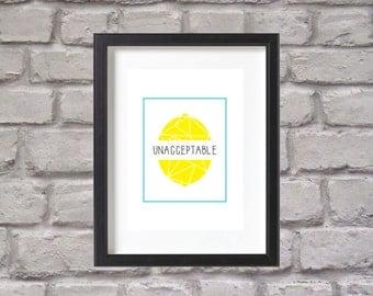Wall Art, Adventure Time, Lemon Art, Lemon Grab, Unacceptable, Finn And Jake, Cartoon Network, Download, Geometric Adventure Time, Print
