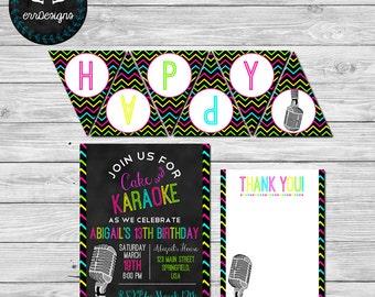 Karaoke Party Package, Karaoke Birthday Party Invitation