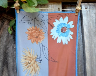 Vintage Vera Long Scarf, Blue and Brown Floral, Rectangular Silk Scarf, circa 1960s-1970s