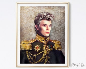 David Bowie Painting - Art Print - Illustration - Home Decor - Thin White Duke - Hero - Bowie Art - Memorial Art