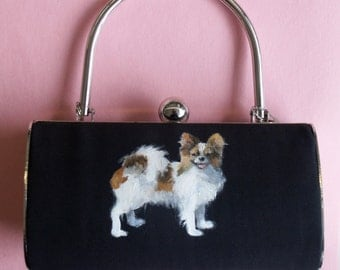 Handbag, Papillon Painting, Dog Portrait, Hand Painted, One of a Kind