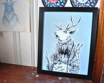 """Special Hunter I - Illustration, 11"""" x 14"""" print, framed"""