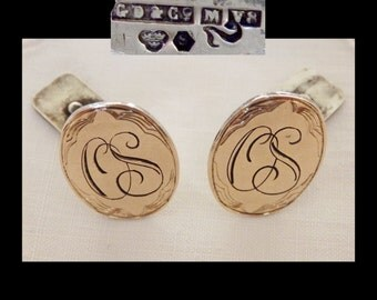 "GD and Co Gustav Dahlgren Sweden Sterling 18K Cufflinks~Engraved~Gilt Silver~""OS"" Monogram~Scandinavian~1940s Vintage~WWII Era~mcm"