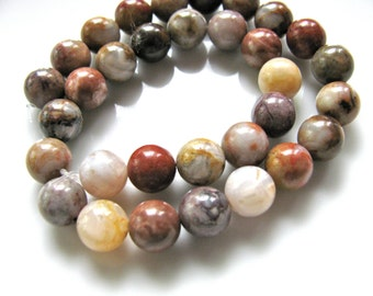 Bamboo Agate. 24 beads, 8mm, multicolor - 778