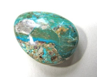 Pendant, Imperial Jasper, teardrop shape, green, beige and brown, 32x44mm, 13mm thick, top drilled - 884