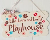 Red and blue playroom sign for children, unisex playhouse sign for brothers and sisters, a floral bedroom sign for a child by Moobaacluck