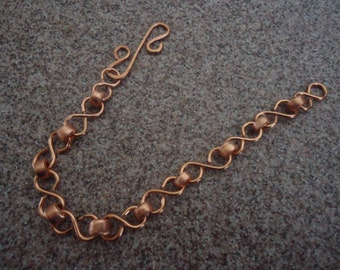 healing therapeutic raw copper bracelet with S links and ornate clasp