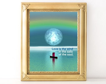 Love Is The Wind Print / Every Day Spirit / Inspirational Quote / Wall Art Illustration / Love Quote / Valentine's Day / Various Sizes
