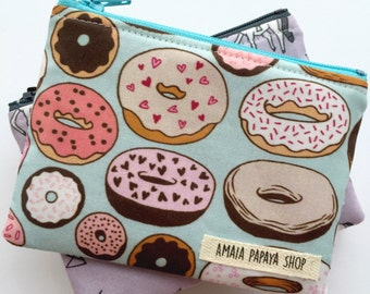 Donut Pouch, Coin Purse, Zipper Pouch, Organization, Wallet, Gifts for her under 15, Chambray