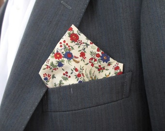 "Pocket square in Liberty Print ""florabundi ""   blue and red floral design  ~ pochette ~ hankerchief"