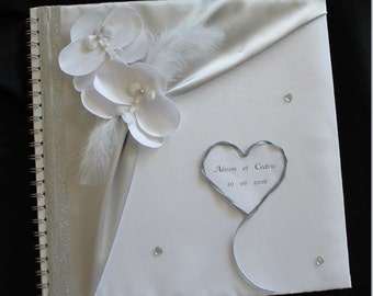 Marriage, white and silver, custom guest book