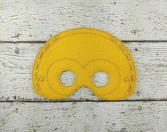 Golden Robot Children's Felt Mask  Party Favor - Costume - Theater - Dress Up - Halloween - Face Mask - Pretend Play - Party Favor