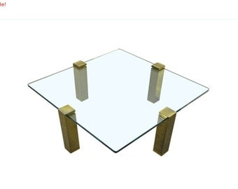 10% Off Sale! Vintage Mid Century Modern Hollywood Regency Floating Glass & Brass Square Coffee Table Pace Style