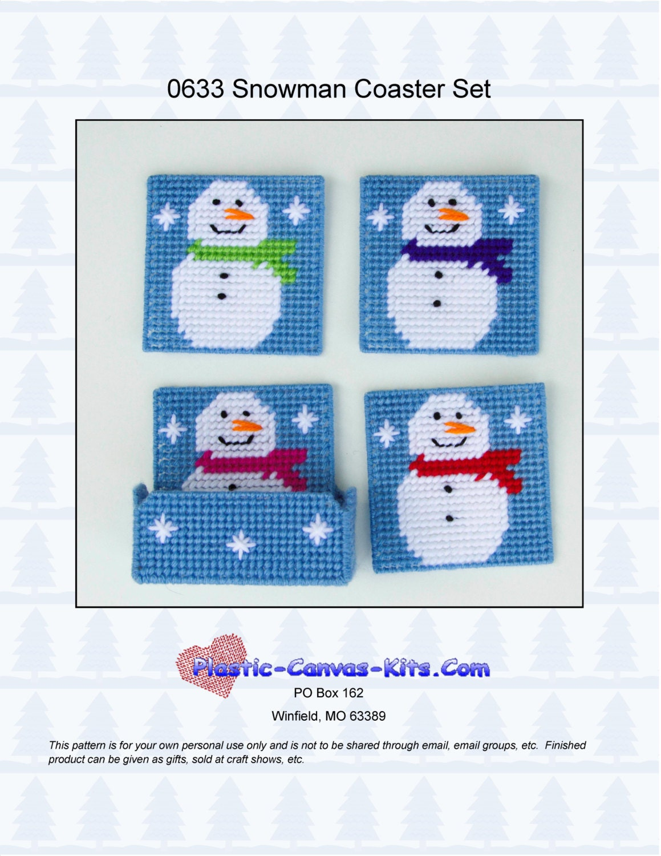 Snowman Coaster Set Plastic Canvas Pattern Pdf Download