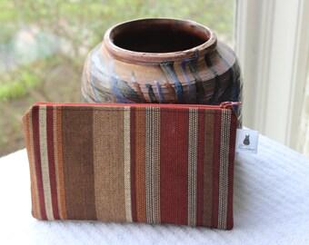 Zipper Pouch - Brown Stripes